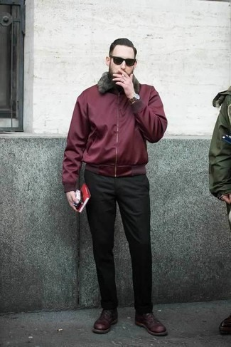 Red and Black Harrington Jacket Outfits: Why not rock a red and black harrington jacket with black chinos? These two pieces are very functional and will look awesome paired together. For a more polished spin, why not add burgundy leather derby shoes to the equation?