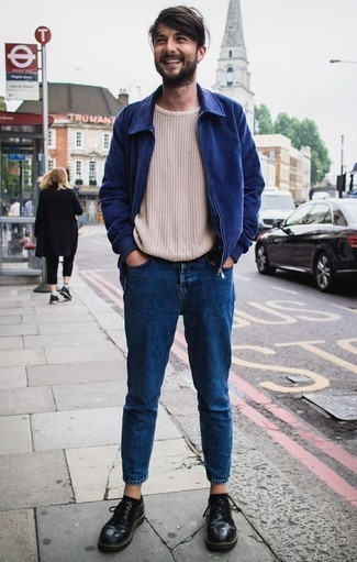 How to Wear a Beige Crew-neck Sweater For Men: A beige crew-neck sweater and teal jeans are absolute menswear must-haves that will integrate well within your off-duty arsenal. Puzzled as to how to complete your outfit? Wear a pair of black leather derby shoes to elevate it.