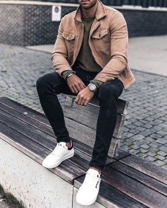 Dark Brown Bracelet Outfits For Men: We're all seeking comfort when it comes to style, and this contemporary pairing of a tan harrington jacket and a dark brown bracelet is a great example of that. Complement this outfit with white and black canvas low top sneakers to instantly shake up the getup.