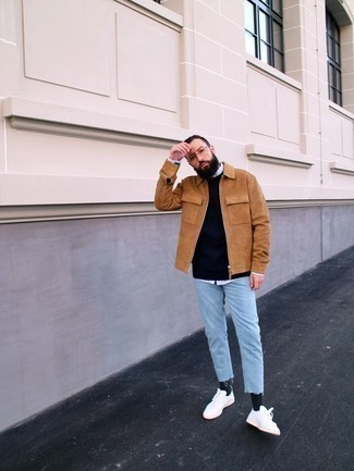 How to Wear a Tan Harrington Jacket: Why not try teaming a tan harrington jacket with light blue jeans? Both of these items are super comfortable and look cool worn together. If in doubt as to the footwear, go with a pair of white canvas low top sneakers.