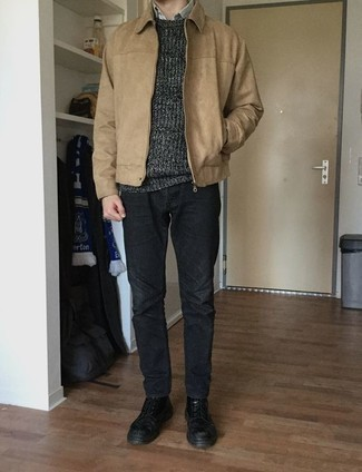 Charcoal Jeans Outfits For Men: For an off-duty outfit with a clear fashion twist, try pairing a tan harrington jacket with charcoal jeans. And if you wish to immediately spruce up this getup with a pair of shoes, add a pair of black leather casual boots to the equation.