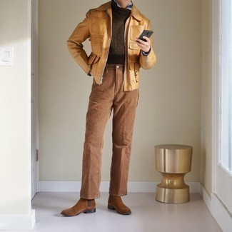 Brown Suede Chelsea Boots Outfits For Men: Flaunt your skills in men's fashion in this off-duty combination of a tan harrington jacket and khaki chinos. Bump up the dressiness of this look a bit by finishing with brown suede chelsea boots.