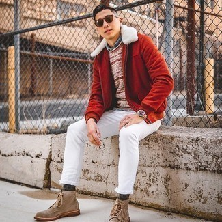 Light Blue Chambray Long Sleeve Shirt Outfits For Men: Go for a light blue chambray long sleeve shirt and white skinny jeans to don a casual and cool outfit. If you want to easily level up this outfit with one item, add a pair of tan suede casual boots to this getup.