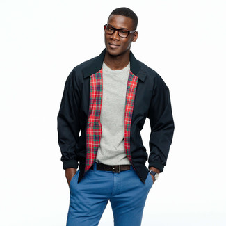 How to wear: navy harrington jacket, grey crew-neck t-shirt, blue chinos, dark brown leather belt
