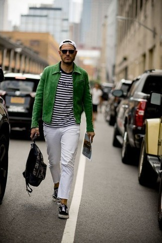 Black Backpack Outfits For Men: A green harrington jacket and a black backpack are a savvy combo to have in your daily casual collection. You know how to lift up this look: black and white canvas low top sneakers.