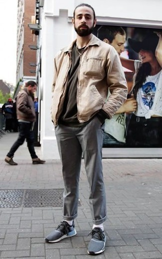 How to Wear a Beige Harrington Jacket: For seriously stylish menswear style without the need to sacrifice on practicality, we like this pairing of a beige harrington jacket and grey chinos. If you need to easily play down your getup with a pair of shoes, complement your outfit with navy athletic shoes.