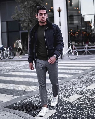 Navy Harrington Jacket Outfits: Why not pair a navy harrington jacket with grey plaid chinos? As well as very functional, both of these items look good paired together. All you need now is a cool pair of white canvas low top sneakers to complete your outfit.