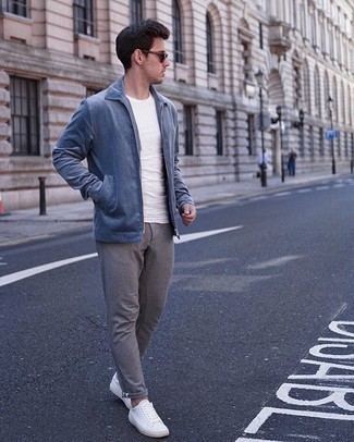 Harrington Jacket Outfits: This casual pairing of a harrington jacket and grey chinos is a real life saver when you need to look casually dapper but have zero time to assemble an outfit. To give this ensemble a more laid-back twist, why not complete this getup with white canvas low top sneakers?