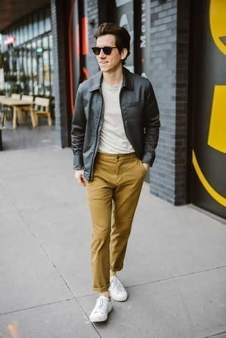 Silver Watch Outfits For Men: This bold casual combo of a charcoal harrington jacket and a silver watch is super easy to pull together without a second thought, helping you look sharp and ready for anything without spending a ton of time rummaging through your wardrobe. Feeling experimental? Elevate your look by wearing a pair of white canvas low top sneakers.