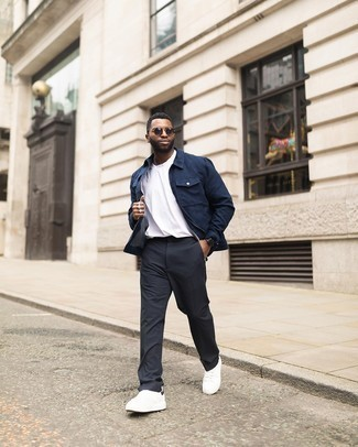 Charcoal Chinos Outfits: Rock a navy harrington jacket with charcoal chinos for a casually stylish and stylish ensemble. Take a more laid-back approach with footwear and complement your ensemble with a pair of white and black canvas low top sneakers.