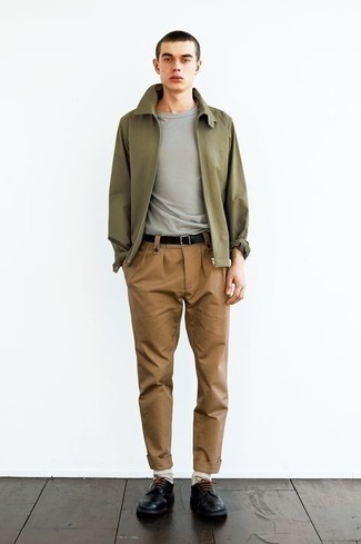 Olive Harrington Jacket Outfits: Nail the laid-back and cool outfit by opting for an olive harrington jacket and khaki chinos. Black leather derby shoes are the most effective way to inject a dose of class into your outfit.