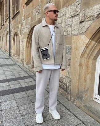 Beige Harrington Jacket Outfits: Master the cool and relaxed outfit in a beige harrington jacket and grey chinos. Finishing off with white canvas low top sneakers is an effective way to bring an easy-going feel to your getup.