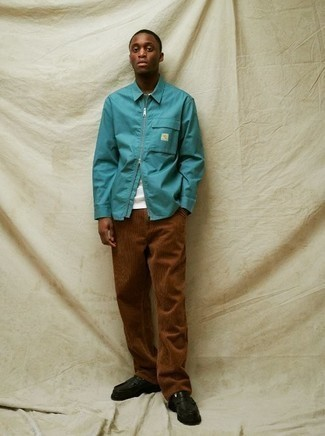 Brown Corduroy Chinos Outfits: This combo of an aquamarine harrington jacket and brown corduroy chinos is on the off-duty side but also ensures that you look sharp and truly dapper. To give this getup a more sophisticated aesthetic, why not introduce black leather loafers to the equation?