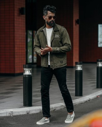 Black and White Check Canvas Slip-on Sneakers Outfits For Men: This combo of an olive harrington jacket and black chinos combines comfort and confidence and helps keep it low-key yet contemporary. Complement this outfit with a pair of black and white check canvas slip-on sneakers for maximum style.