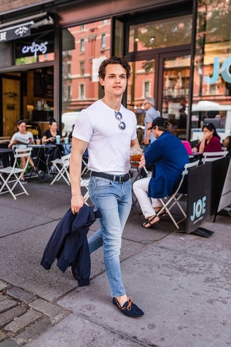 How to wear: navy harrington jacket, white crew-neck t-shirt, light blue jeans, navy suede driving shoes