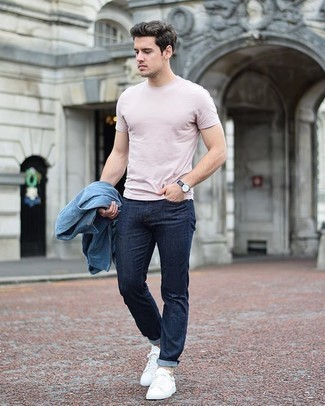 Harrington Jacket Outfits: This casual combo of a harrington jacket and navy jeans will attract attention wherever you go. Complete your outfit with white canvas low top sneakers et voila, this ensemble is complete.