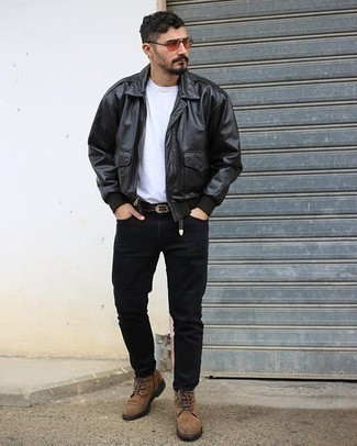 Black Jeans Spring Outfits For Men: Pairing a black leather harrington jacket and black jeans will allow you to exhibit your prowess in men's fashion even on weekend days. Tap into some David Gandy stylishness and smarten up your outfit with brown suede casual boots. Keep this combination ready to go come warmer days, and we promise you'll save time racking your brain for what to wear on more than one morning.