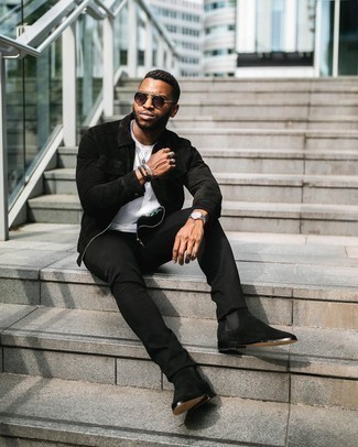 Dark Brown Sunglasses Outfits For Men: A black suede harrington jacket and dark brown sunglasses are great menswear essentials that will integrate perfectly within your day-to-day off-duty lineup. Rev up the cool of this getup by finishing with a pair of black suede chelsea boots.