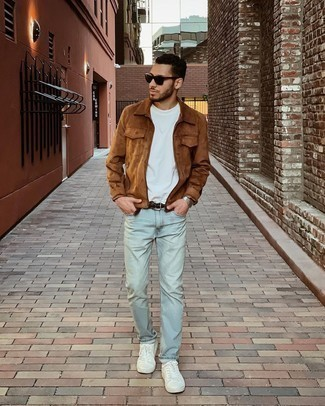 Black Sunglasses Outfits For Men: This pairing of a brown suede harrington jacket and black sunglasses makes for the ultimate relaxed casual style for any modern gentleman. Feeling creative today? Jazz things up by rounding off with a pair of white canvas low top sneakers.