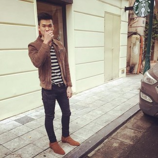How to wear: brown suede harrington jacket, white and black horizontal striped crew-neck t-shirt, black skinny jeans, tobacco suede cowboy boots