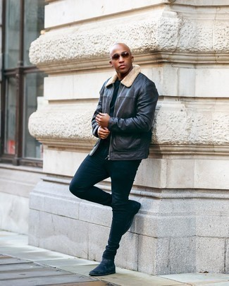 Navy Skinny Jeans Outfits For Men: Consider teaming a black leather harrington jacket with navy skinny jeans to achieve an interesting and modern-looking casual ensemble. For something more on the sophisticated side to round off this ensemble, add black leather chelsea boots to this look.