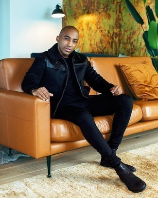 Dark Brown Leather Chelsea Boots Outfits For Men: A black harrington jacket and black skinny jeans are essential in any modern gentleman's versatile casual sartorial arsenal. For something more on the dressier side to finish your ensemble, introduce a pair of dark brown leather chelsea boots to the equation.