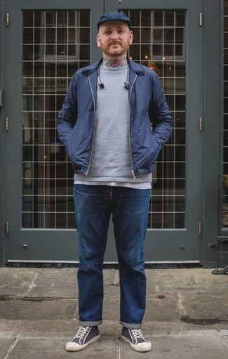 How to Wear a Navy Baseball Cap For Men: Such staples as a navy harrington jacket and a navy baseball cap are the ideal way to inject understated dapperness into your day-to-day casual lineup. Navy and white canvas high top sneakers are a guaranteed way to bring an extra dose of style to your outfit.