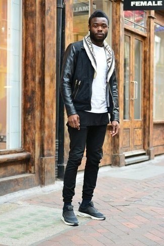 How to Wear Black Jeans In Warm Weather For Men: This laid-back combination of a black suede harrington jacket and black jeans is a surefire option when you need to look neat and relaxed in a flash. Finishing off with a pair of navy athletic shoes is a surefire way to add a more relaxed spin to this ensemble.