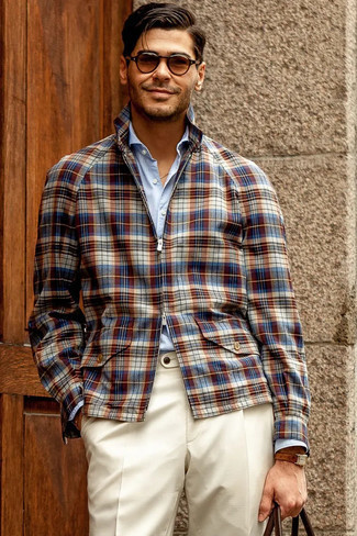 White Dress Pants Outfits For Men: This is solid proof that a navy plaid harrington jacket and white dress pants look awesome when matched together in a refined getup for today's guy.
