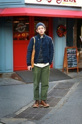 Teen Boy Fashion: What To Wear: Dress in a navy harrington jacket and olive chinos for kick-ass menswear style. If you want to feel a bit smarter now, introduce brown leather casual boots to the equation.