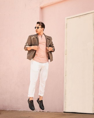 1200+ Outfits For Men In Their 30s: For a look that's super straightforward but can be styled in a great deal of different ways, dress in a brown gingham harrington jacket and white chinos. If not sure about the footwear, go with a pair of black leather low top sneakers. And if we're talking casual fashion for over-30 men, this ensemble looks great on most gents.