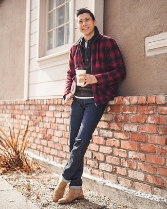 Henley Sweater Outfits: Showcase your skills in men's fashion by putting together a henley sweater and navy jeans for a casual combo. Add tan suede chelsea boots to the mix to easily rev up the style factor of any ensemble.