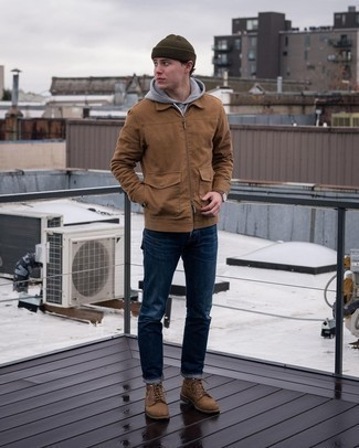 Olive Beanie Outfits For Men: Try pairing a brown harrington jacket with an olive beanie if you want to look casually dapper without much effort. Complete this ensemble with a pair of brown suede casual boots to immediately up the wow factor of this look.