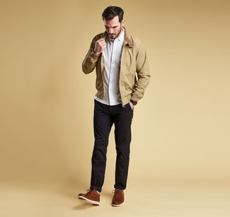 How to wear: tan harrington jacket, white long sleeve shirt, black chinos, brown leather derby shoes