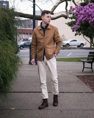 Dark Brown Suede Casual Boots Outfits For Men: A tan harrington jacket and white chinos will bring serious style to your current off-duty arsenal. To introduce some extra flair to this ensemble, complete this getup with a pair of dark brown suede casual boots.