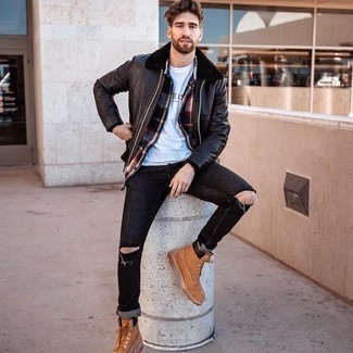 Multi colored Flannel Long Sleeve Shirt Outfits For Men: If you like the comfort look, opt for a multi colored flannel long sleeve shirt and black ripped jeans. Inject a dash of stylish effortlessness into this ensemble by slipping into a pair of tobacco leather work boots.