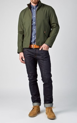 How to wear: dark green harrington jacket, blue chambray long sleeve shirt, navy jeans, tan suede desert boots