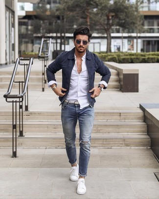 Belt Outfits For Men: This combination of a navy suede harrington jacket and a belt is dapper and yet it's laid-back enough and ready for anything. For extra style points, complete your ensemble with a pair of white canvas low top sneakers.