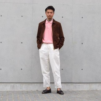 White Chinos Outfits: Try pairing a brown suede harrington jacket with white chinos for both dapper and easy-to-style outfit. For something more on the smart side to finish this look, introduce a pair of dark brown leather tassel loafers to the equation.