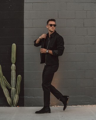 500+ Warm Weather Outfits For Men: Why not team a black harrington jacket with black chinos? Both of these pieces are totally functional and will look cool when married together. For a more sophisticated twist, complete this ensemble with black suede chelsea boots.