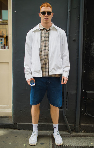 How to Wear Socks For Men: Flaunt your chops in menswear styling in this off-duty combination of a white harrington jacket and socks. Let your expert styling truly shine by complementing this getup with white canvas low top sneakers.