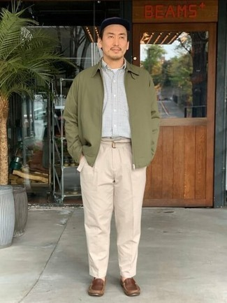 Olive Harrington Jacket Outfits: If you like comfortable combinations, try pairing an olive harrington jacket with beige chinos. Complete this ensemble with a pair of brown leather loafers for a fashionable mix.