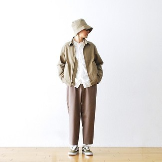 Brown Chinos Outfits: A tan harrington jacket and brown chinos will introduce serious style into your daily casual arsenal. To give your overall outfit a more casual aesthetic, why not choose a pair of olive canvas low top sneakers?