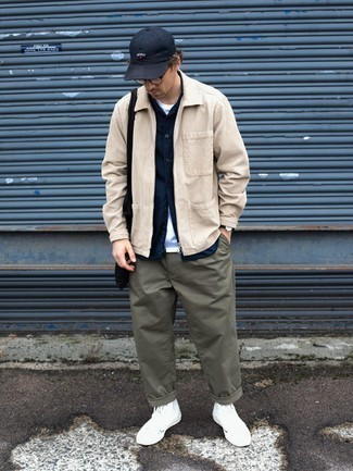 Black Canvas Tote Bag Outfits For Men: Pair a beige corduroy harrington jacket with a black canvas tote bag for a look that's both laid-back and comfortable. Give a dash of refinement to your outfit by rounding off with white canvas high top sneakers.