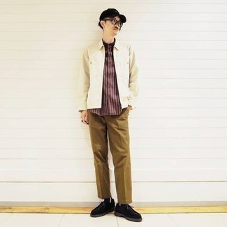 Baseball Cap Outfits For Men: This combo of a beige harrington jacket and a baseball cap is the perfect base for a great number of dapper getups. To give your ensemble a more refined finish, why not complete this outfit with a pair of black suede desert boots?