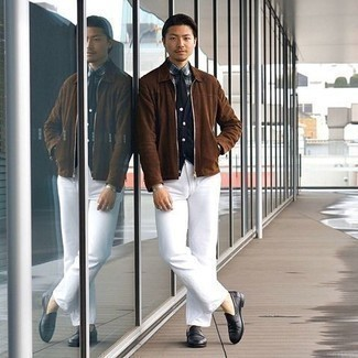 Men's Outfits 2020: Why not make a brown suede harrington jacket and white chinos your outfit choice? Both pieces are totally comfortable and will look awesome when paired together. To introduce some extra definition to your outfit, opt for a pair of black leather loafers.