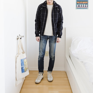 Check Harrington Jacket Outfits: A check harrington jacket and navy jeans will allow you to demonstrate your sartorial side. White leather low top sneakers integrate smoothly within plenty of combos.
