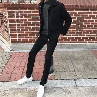 How to Wear a Black Harrington Jacket: You're looking at the hard proof that a black harrington jacket and black chinos are awesome when worn together in a casual outfit. To give your overall outfit a more relaxed spin, why not introduce white leather low top sneakers to this look?