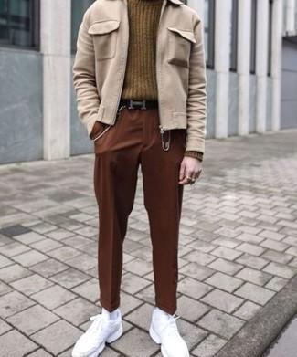 Men's Beige Harrington Jacket, Brown Knit Wool Turtleneck, Brown Chinos, White Athletic Shoes