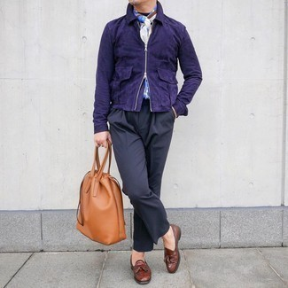 White Print Scarf Outfits For Men: If you like relaxed dressing, consider pairing a navy suede harrington jacket with a white print scarf. Introduce brown leather tassel loafers to your look for an instant style boost.